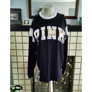 NEW VS PINK Bling Ringer Campus Long Sleeve Tee